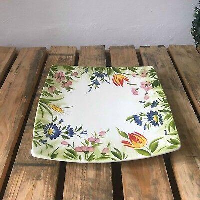 Bassano Ceramica Quadrato Piatto 20 Cm Motivo Fiori Dall'italia Nuovo Dipinto A Mano-mostra Il Titolo Originale