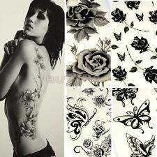 Charm Unisex Butterfly Rose Temporary Tattoo Lady Body Art Sticker Black HU