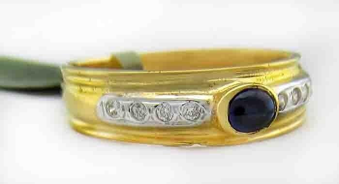 GENUINE 0.46 Cts blueE SAPPHIRE & DIAMONDS 18k YELLOW gold RING  Free Appraisal