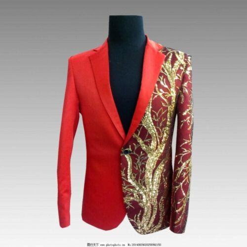 Short Collar Formal Stage Coats Black Dress Button Show Size Red One Lapel Mens H1vU4Xn