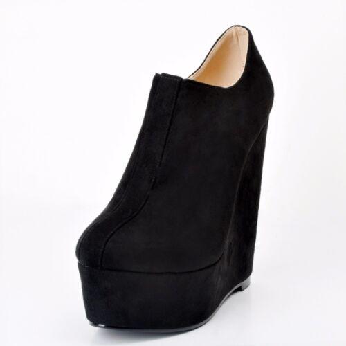 FASHION Women Ankle Boots Platform Round Toe Wedges Black Shoes Plus Size 4-15