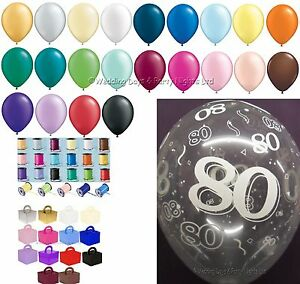 Image Is Loading Any Colour 80th Birthday Party Helium Balloons Ribbons