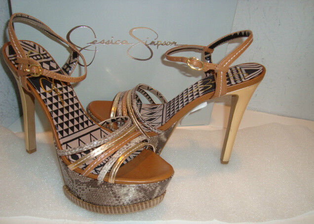 Jessica Simpson para mujer Nuevo con Caja Skye oro Brn Brn Brn Combo Metálico Sandalias Zapatos 9 MED Nuevo  alta calidad