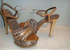 metallici 9 Brn Skye sandali Womens Combo Jessica Simpson scarpe Nwb oro Nuovo Med wax1Fq