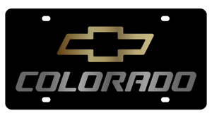 Chevrolet Colorado Black Mirror Outline Finish Lazer Tag Acrylic License Plate