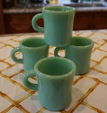 4 Fire King Jadeite Restaurant Ware G212 Extra Heavy Coffee Mugs ~ Jadite Green