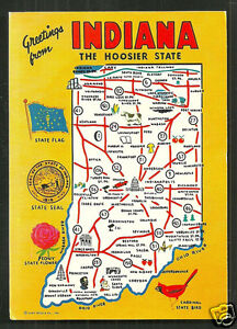 Details about Map postcard Indiana IN Hoosier State USA on washington state map postcard, indiana state park campground maps, ohio state map postcard, indiana united states map,