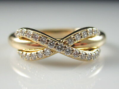 Tiffany & Co. Diamond Infinity Ring 18K Rose Gold Size 5 G/VS .13ctw