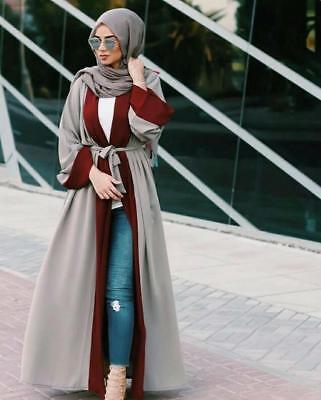Dubai Open Abaya Kaftan Kimono Cardigan Muslim Women Maxi Dress Light Coffee