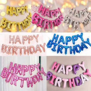 Self-Inflating-16-034-Foil-Letters-BALLOONS-Happy-Birthday-Ballons-Kid-Friend-Gifts