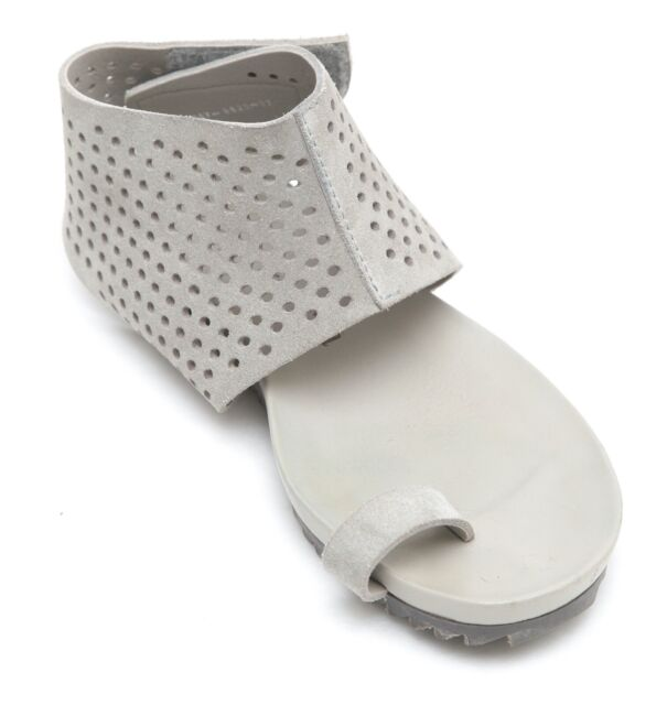 PEDRO GARCIA Sandal VERENA Grey Suede Ankle Strap Toe Ring Sz 37