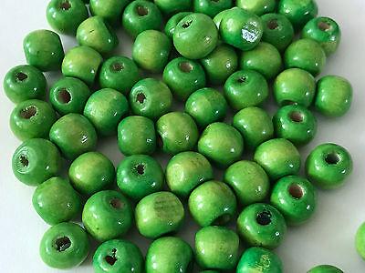 30  Apple Green Opaque Round Ball Glass Beads  8mm