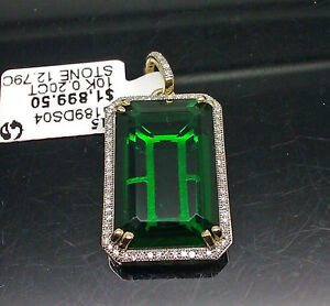 Pendant,Cross,N Real 10k Yellow Gold /&Diamond With Rectangle Center Stone Charm