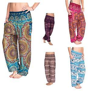 Donna-Harem-Pantaloni-Pump-Pantaloni-cavallo-basso-pantaloni-pluderhose-Pantaloni-lunghi-cavallo