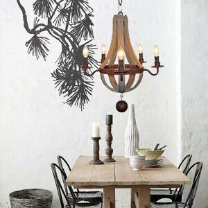 Light Wood Iron Pendant Lamp Hanging