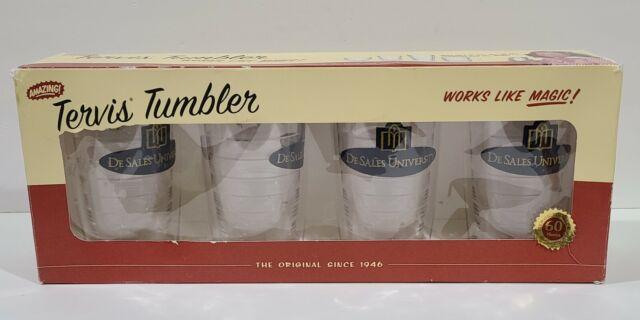 Tervis Tumbler De Sales University Emblem ~ Set of 4 ~16 oz Clear NEW IN BOX
