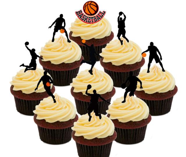 Basketball Party 36 Edible Cup Cake Toppers Standup Fairy Bun ...
