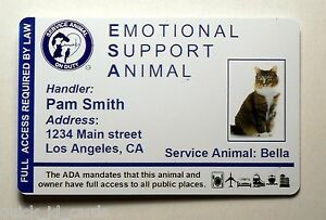 Emotional Support Animal Id Card Badge Service Cat