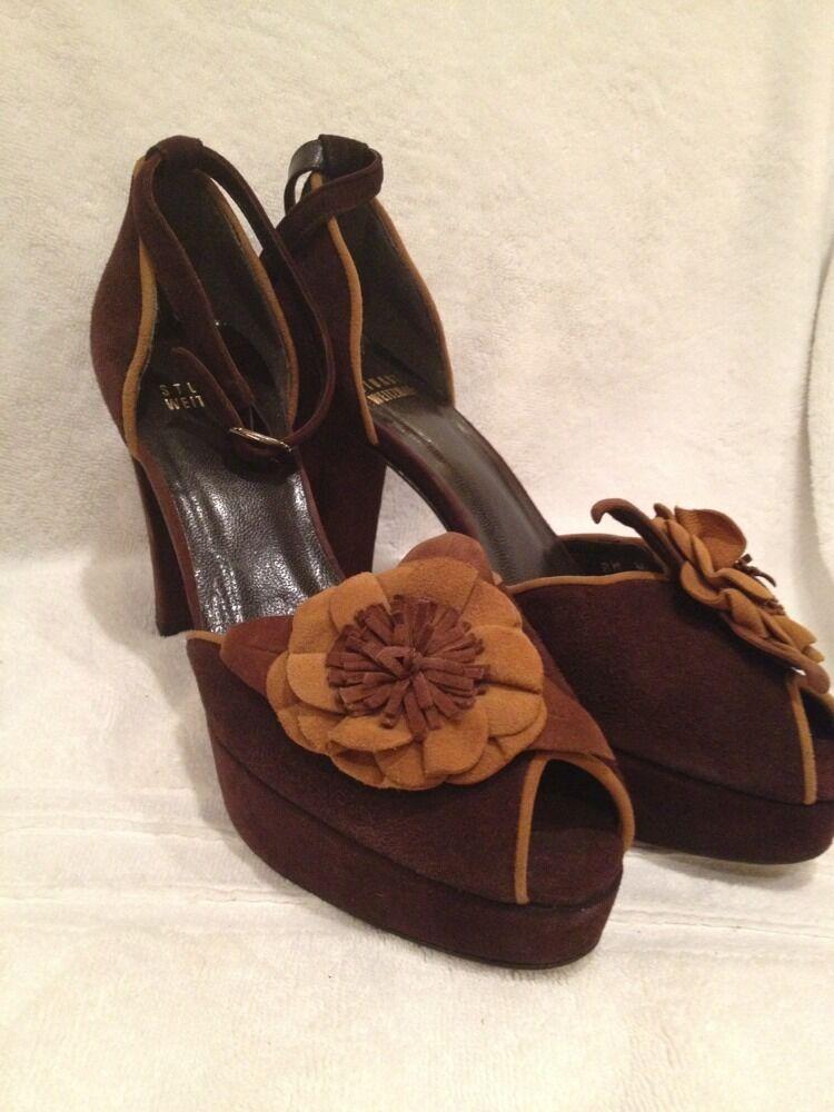 STUART WEITZMAN Platform Sandal Pumps Chunky Heels Suede Brown Size 6 1 2 M