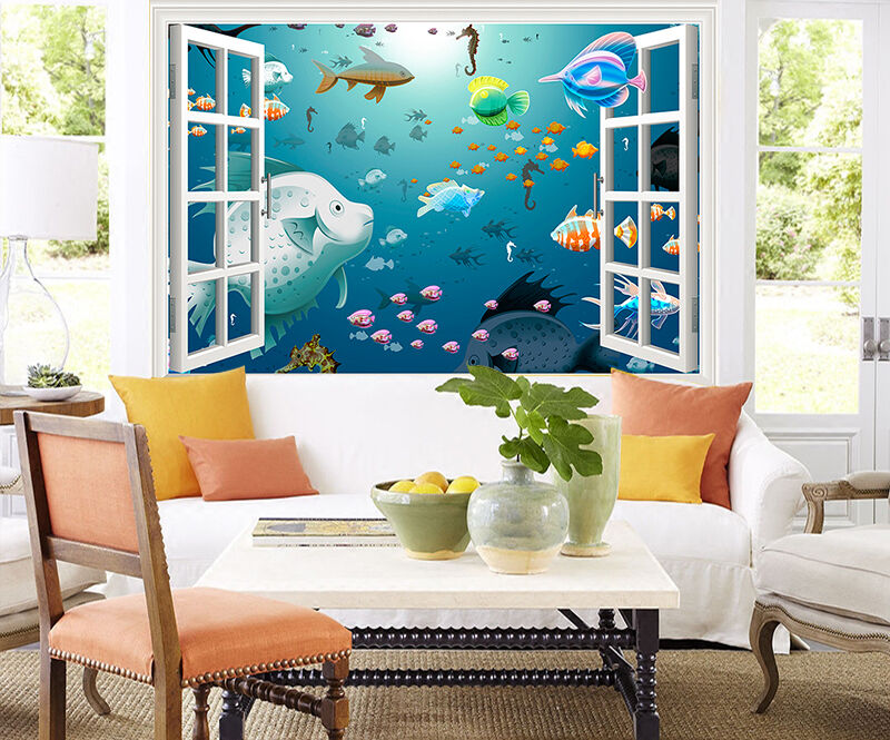 3D Window Cartoon Animals 567 Wall Paper Wall Print Decal Wall AJ WALLPAPER CA