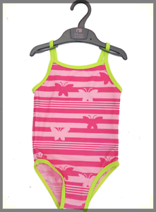 NEW Young Girls Pink Butterfly Stripe Swimsuit by Mothercare in Age 4-5 yrs
