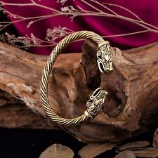 Norse Pagan Goth Knot Viking Wolf Head Gold Plated Bracelet  Torc Men women