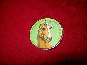 Vintage Thoroughbred Horse Plastic Pin Button, Soviet Spelling.