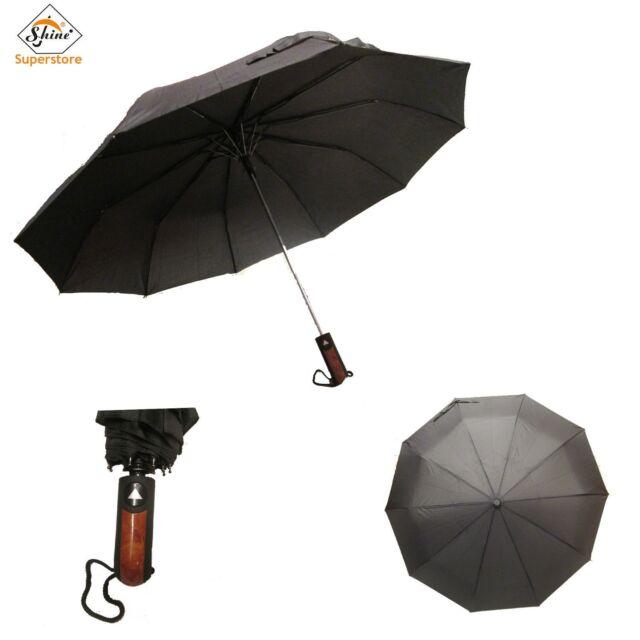 Windproof Unisex Black Premium Auto Open Push Button Umbrella High Quality Shine
