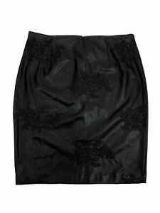 WORTHINGTON-Women-039-s-Faux-Leather-Pencil-Skirt-Embroidered-Black-Size-16