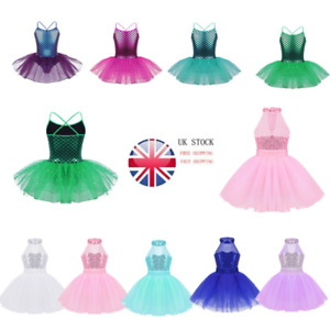 UK-Kid-Girl-Mermaid-Ballet-Leotard-Glittery-Sequins-Tutu-Dress-Dancewear-Costume