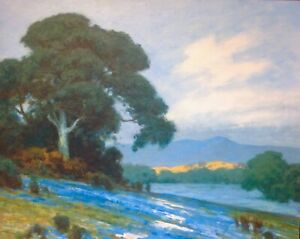 "24""x30"" California Dreaming Oak Impressionism Poppies Landscape Art Oil Painting"