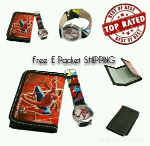 SALE-Kids-Boys-Cartoon-Spiderman-Character-Wallet-Coin-Purse-amp-Watch-KIDS-GIFT
