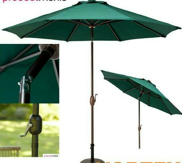 New Green Parasol Garden Patio Umbrella Lightweight Crank Wind Up Sunshade 2.7m