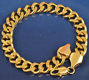 10K-Yellow-Gold-Filled-GF-Solid-Heavy-Link-Chain-Bracelet-22cm-Long-9mm-Wide