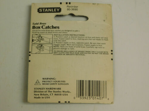 """Stanley  80-3690 Solid Brass Box Catches 3//4/"""" X 1-1//4/"""""""
