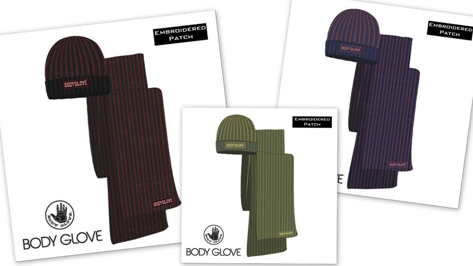Body Glove MN Contrast Rib Hat & Scarf Set - Choose Your Color