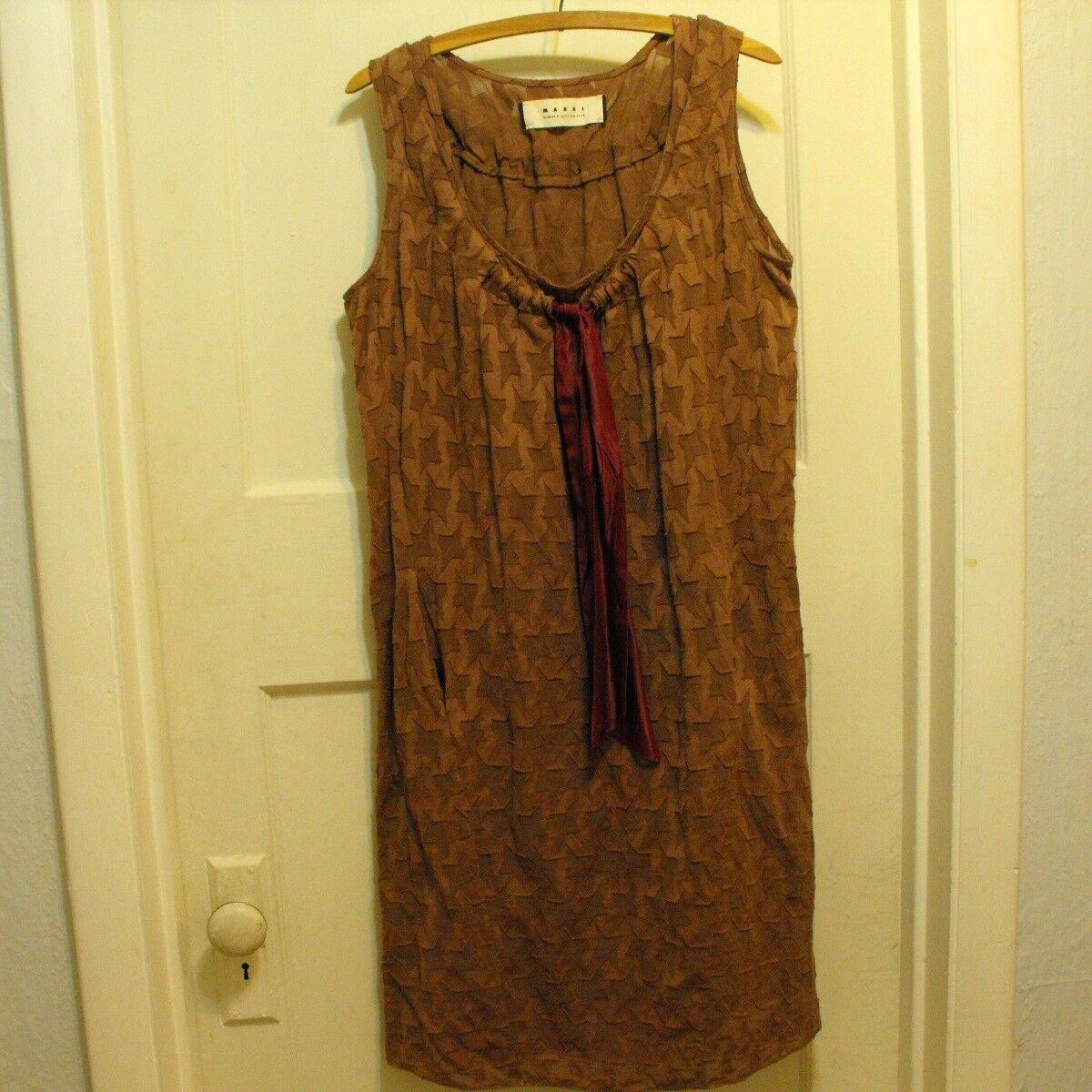 Marni 2010 Summer Edition braun Sleeveless Shift Dress Größe Italian 40 US Größe 4