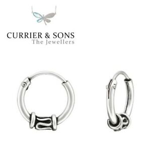 feec6d0ff 925 Sterling Silver 10mm Bali Hoop Sleeper Earrings Design 5 (Pair ...