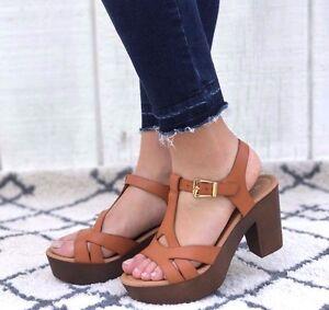 2c58e961d18 New Womens T-Strap Faux Wooden Platform Chunky Heel Sandals Sandal ...