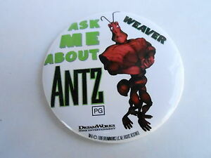 VINTAGE-PROMO-PINBACK-BUTTON-109-050-ANTZ-movie-ASK-ME