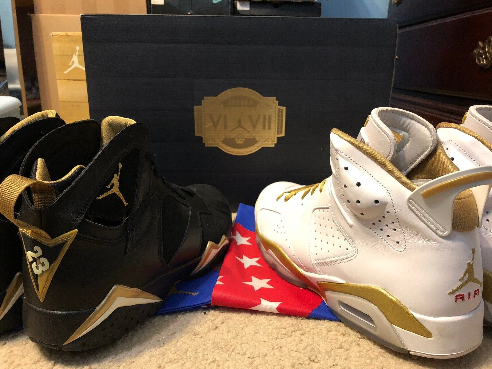NIKE AIR JORDAN  GOLDEN MOMENTS PACK RETRO 6 AND 7 MENS SIZE 12 preowned Wild casual shoes