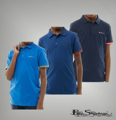 Boys Ben Sherman Cotton Short Sleeve Pique Collar Print Polo Sizes 7-16 Yrs