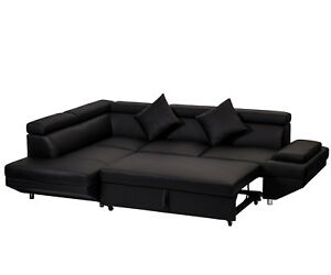 Image Is Loading Contemporary Sectional Modern Sofa Bed  Black With Functional