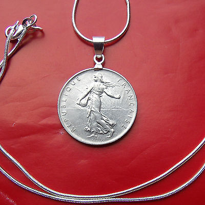 "Fine Jewelry French Liberty Maiden Franc Pendant W/ 22"" 925/1000 Italian Silver Snake Chain"