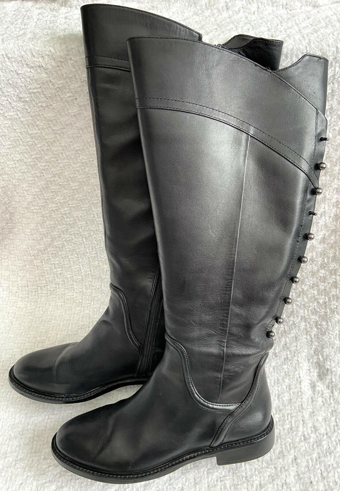 GIANNI BIDI Tall Black Leather Boots Women's 7.5 MW Metal Studs Riding Side Zip