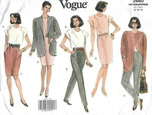 Vogue-Sewing-Pattern-2660-VERY-EASY-Jacket-Top-Dress-Skirt-Trousers-Size-14-VTG