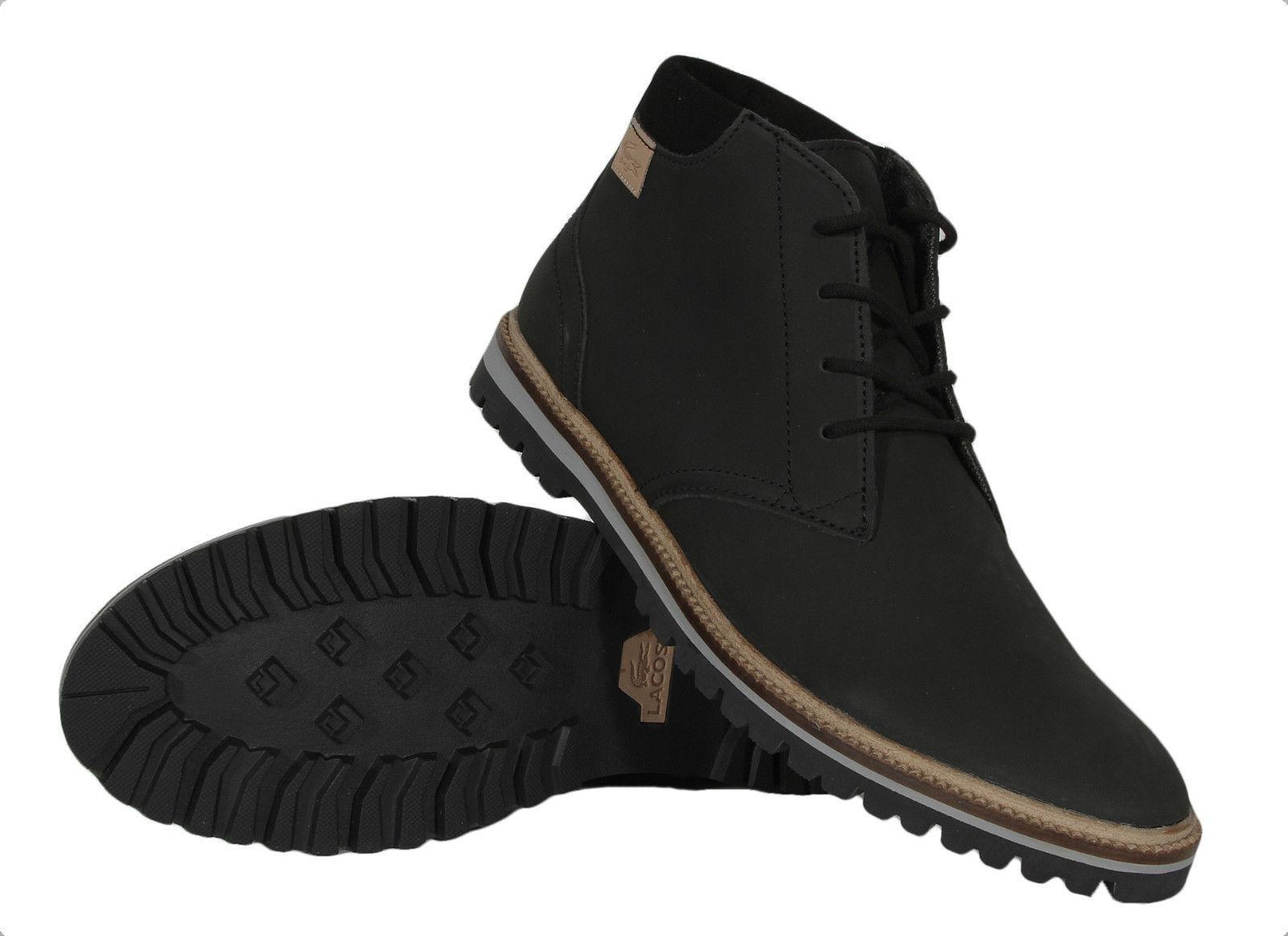 Lacoste Montbard Chukka SRM Leather Sneaker Shoe Black Ankle Boot Men Sz 11-13
