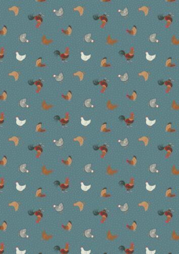 Granja de pollos gallinas cosas pequeñas Verde azulado Algodón Tela de costura de acolchar