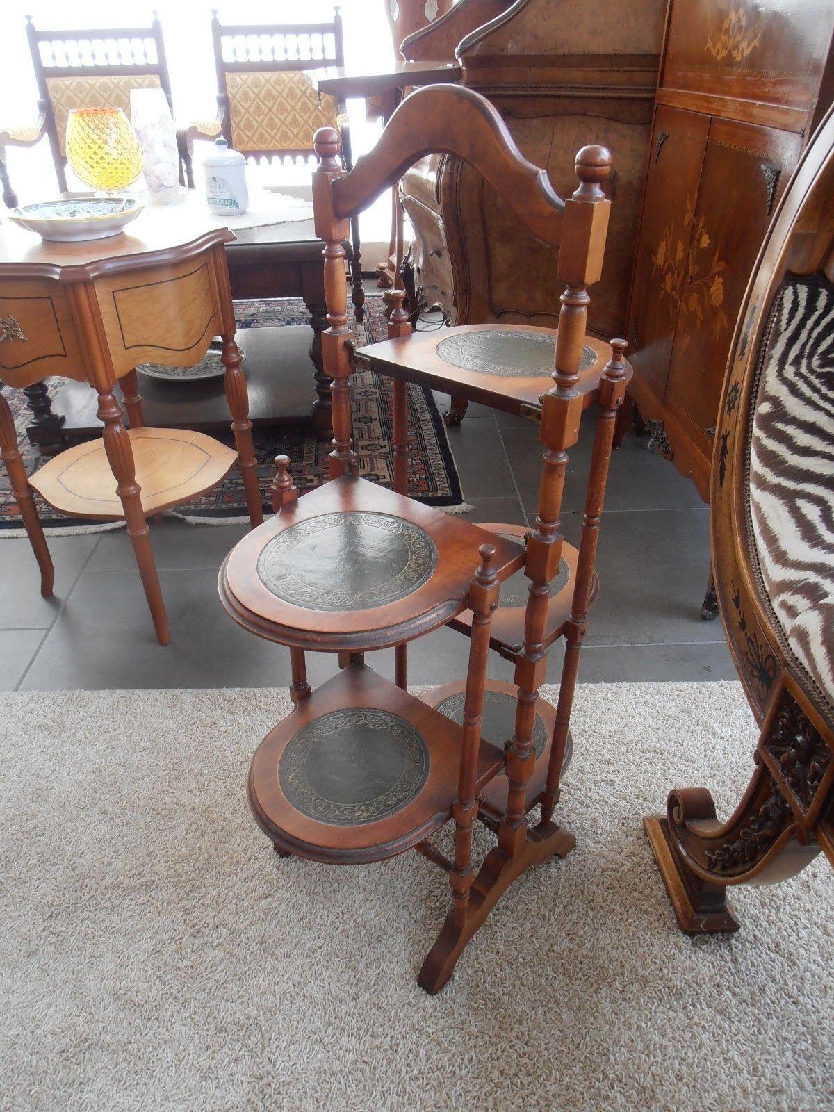 Vintage porta vasi  etagere a colonna 5 ripiani in legno