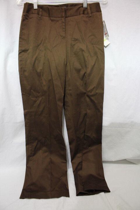 NWT JOSEPHINE CHAUS Petite Brown  Cafe  Cotton Blend Pants Womens Sz 4P-B98
